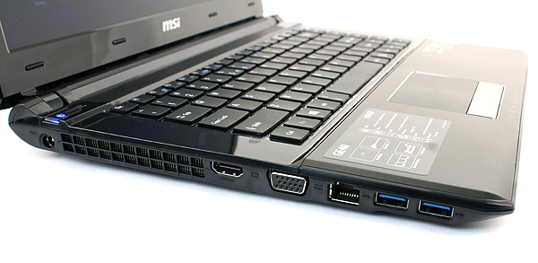 The left side of the MSI GE40 houses most of its ports. There are two USB 3.0 ports, an Ethernet jack, HDMI and VGA ports.