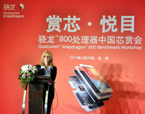 Michelle Leyden-Li, Qualcomm's Senior Marketing Director, provides an overview of Snapdragon 800 series processors at a workshop held in Beijing, China.