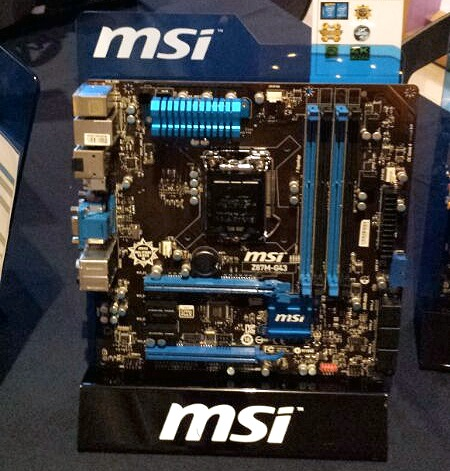 Here's a mATX option, the MSI Z87-GD43 from the Classic range.