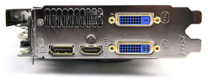 Like the other cards in our shootout, ports are the same as the reference card, sporting one DVI-D port, one DVI-I port, one HDMI port and one DisplayPort port.
