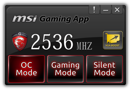 The MSI Gaming app lets you choose between a default gaming overclock (1020MHz) and a higher OC overclock that will boost core clock speeds up to 1080MHz. A Silent mode with lower clock speeds and reduced fan speed is also available.