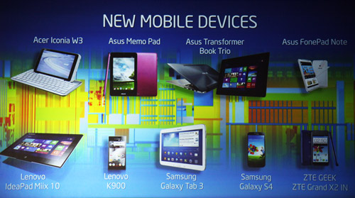 Line-up of new mobile devices with Intel silicon. All are based on Clover Trail and Clover Trail+ SoCs with the exception of Samsung Galaxy S4 (3G edition) which uses Intel's XMM 6262 3G modem solution.