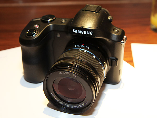 The Samsung Galaxy NX mirrorless interchangeable lens digital camera.