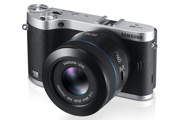 The Samsung NX300 is available in  brown, white, or black (pictured above) body color options.
