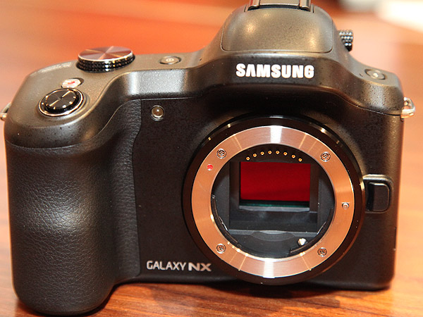 The 20.3 megapixel APS-C CMOS image sensor within the Samsung Galaxy NX mirrorless interchangeable lens system camera.