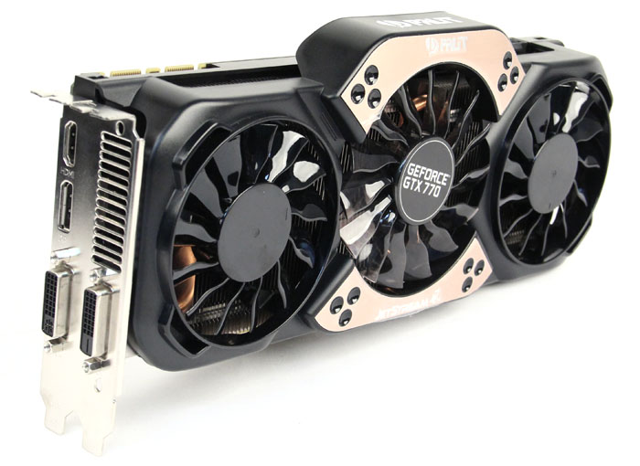 Palit's Jetstream cooler features a triple fan cooling system with two 80mm fans around a single 92mm fan in the middle. Underneath, five nickel-plated heatpipes  draw heat away from the GPU. Unfortunately, the entirely plastic construction of the cooler makes it look cheap.