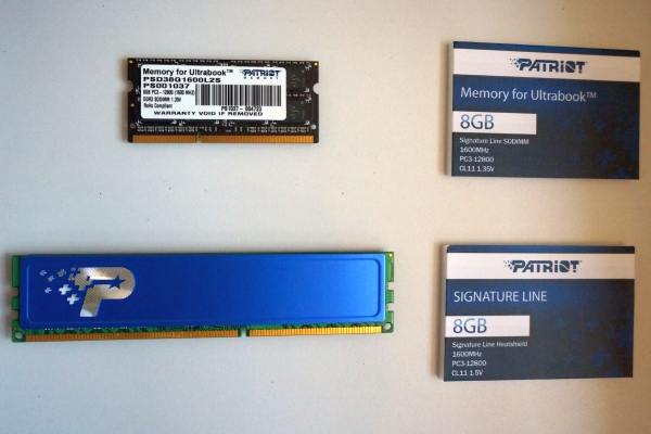The Signature line includes DDR3 1600MHz memory kits in both SO-DIMM and DIMM configurations.
