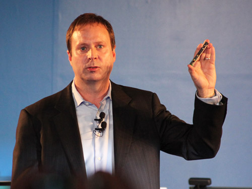 Kirk Skaugen, senior vice president and general manager of Intel's PC Client Group with the 3D depth sensor which will be integrated into Intel-based platforms from the second-half of 2014.