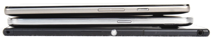 Despite its larger screen size, the Sony Xperia Z Ultra is thinner than both the Samsung Galaxy Mega with LTE (center) and Huawei Ascend Mate (top).
