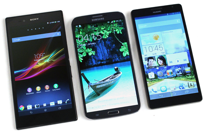 The 6-inch Jaegers: Sony Xperia Z Ultra (left), Samsung Galaxy Mega with LTE (center) and Huawei Ascend Mate (right).