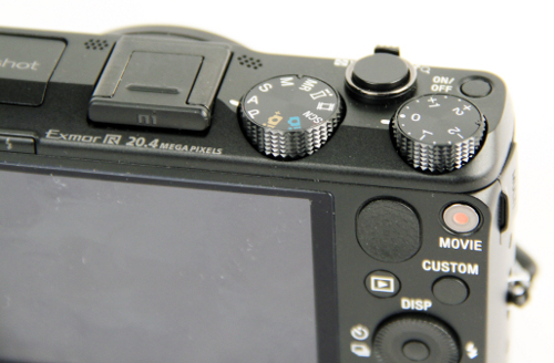 The HX50V comes with a dedicated exposure compensation dial.