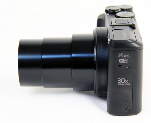 Here's the HX50V with its lens fully extended.