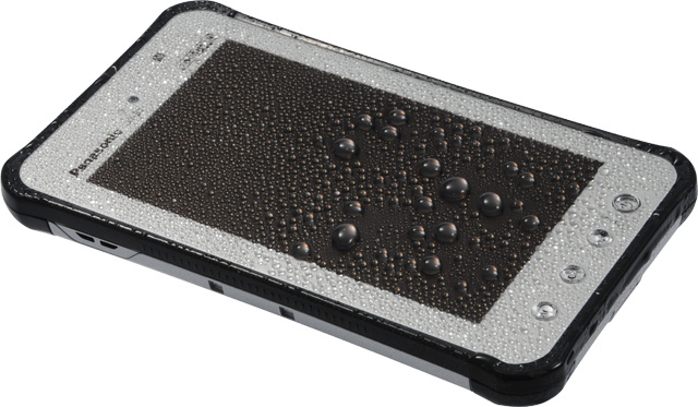 Panasonic's new JT-B1 Toughpad isn't waterproof, but that doesn't stop Panasonic from drenching it with a continuous stream of water for over an hour.