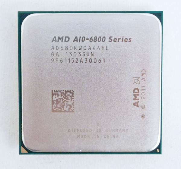 The latest Richland APU from AMD, in the form of the A10-6800K. Its Radeon HD 8670D graphics core is clocked at 866MHz.