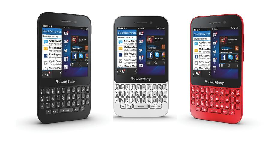 The BlackBerry Q5 will be available in black and white. The red version will not be available in Singapore.