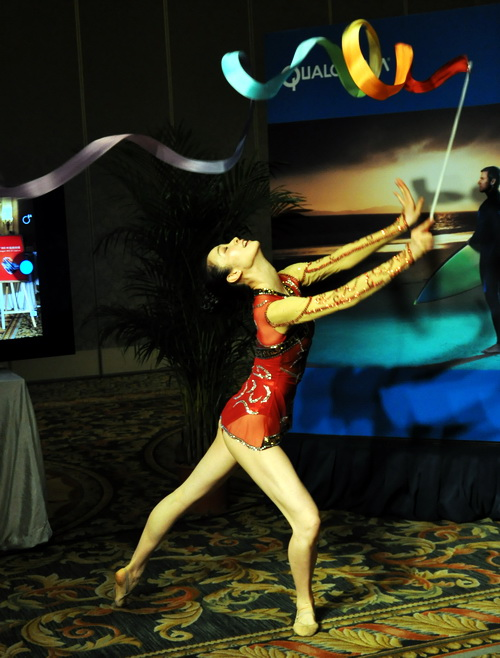 Guests were treated to a gymnastics routine which also served as the subject of the Snapdragon 800 workshop's 4K Ultra HD video recording demonstration.