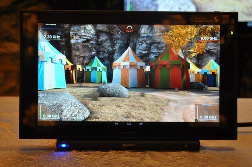 "In this segment, the prototype tablet powered by a Snapdragon 800 processor shows the presence of four cores. While running the game ""Epic Citadel"", the tablet uses only one of its four cores."