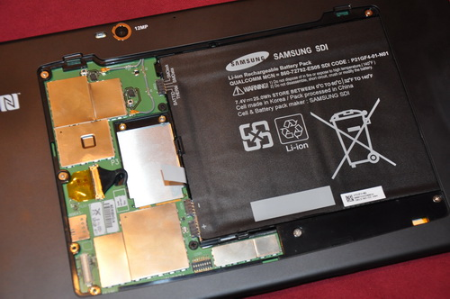 Within, the prototype tablet employs a lithium ion battery module made by Samsung.
