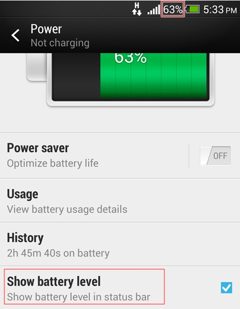 Battery level indicator on the status bar.