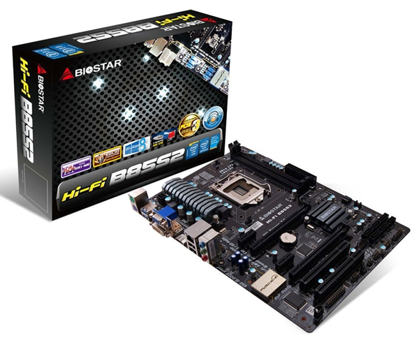 The Biostar Hi-Fi B85S2 Ver. 6.x motherboard that features the Intel B85 chipset. (Image Source: Biostar)
