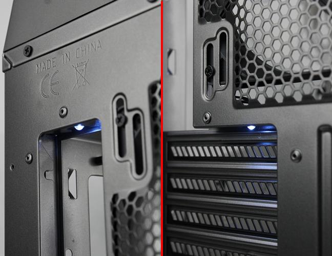 The LED lights are controlled by the button at the top control panel. They may be useful in low-light conditions when you need to scrutinize the rear I/O ports, or the ports of your expansion cards. It's a handy frill when you're likely to place the case under a desk.