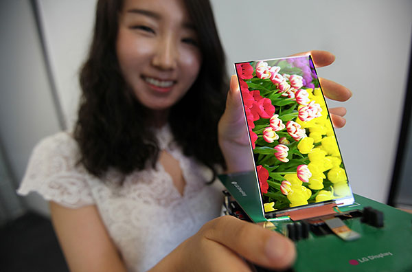Expect to see this slim panel in some high-end smartphones soon. (Image source: LG.)