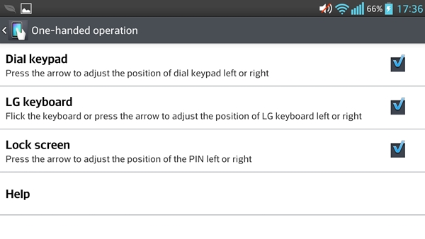 One-handed operation makes it easier to carry out common actions on the LG Optimus G Pro.