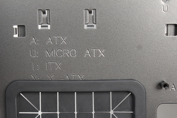 The legend is also etched on the motherboard tray to quickly decipher what letter of the alphabet represents the form factor of the motherboard supported.