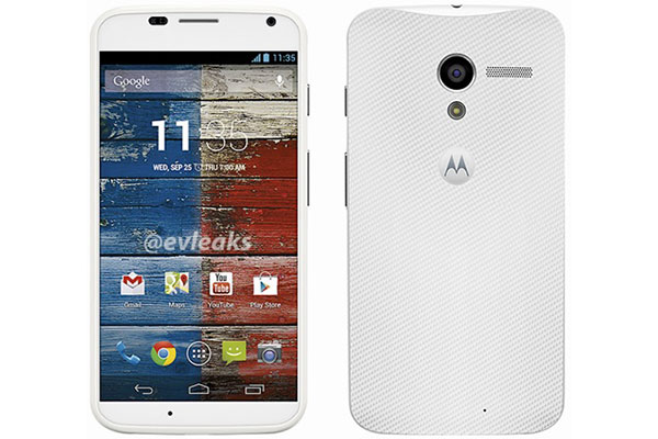 The Moto X will come in white and black, and possibly more custom colors. (Image source: @evleaks.)