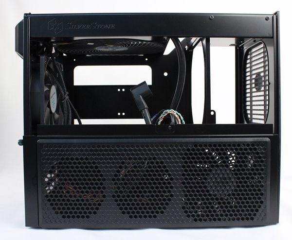 After removing the top panel, the GPU fan bracket still remains on its own. This has to be removed separately in order to have an unobstructed view of its interior.
