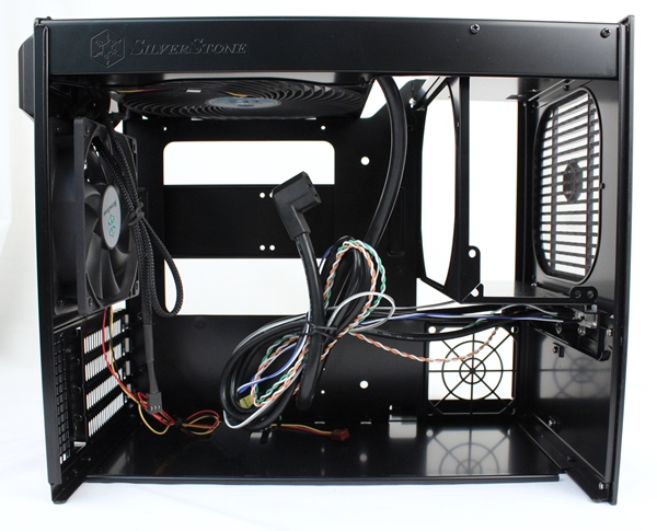 The interior of the Sugo SG09 reveals the unique option of mounting a ATX PSU at its front.