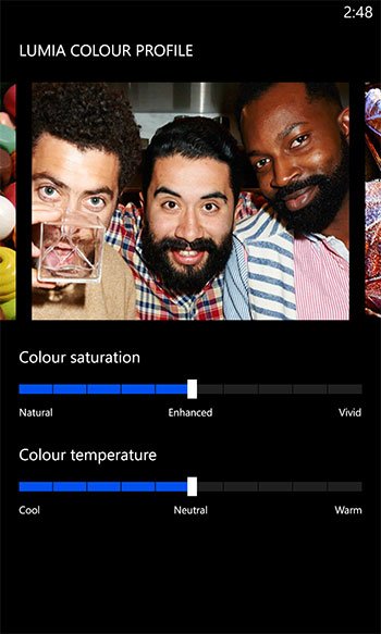 There are 11 color saturation and 11 color temperature settings to get the screen color profile just right.