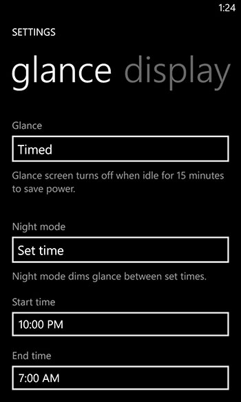 With Night Mode is activated, Glance Screen will dim and text will turn into an orange-red color to make it easier for the eyes in the dark.