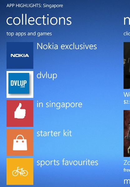 Nokia Collection on the Apps Highlights app.
