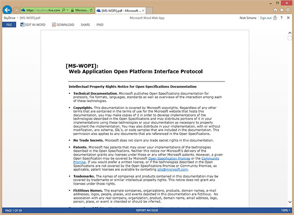 PDF viewing comes to the Word Web App. (Image source: Microsoft.)
