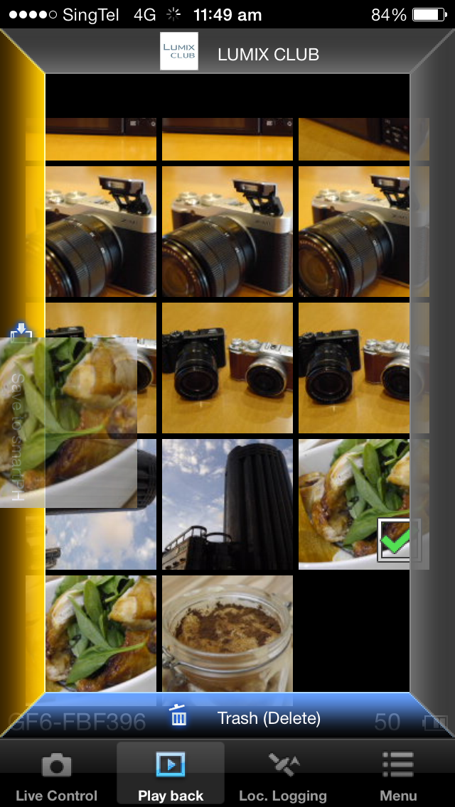 The Lumix app's UI is not very intuitive. When you select an image, it's not immediately obvious how to transfer it to your smart device. You have to long hold on the image for these options to appear around the frame, which you then drag and drop onto.
