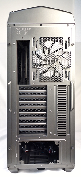 On the back of the case, you'll find a 140mm exhaust fan, nine expansion slots and the bottom-mounted PSU opening.