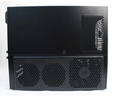 On its left side, there are options for mounting up to three coolings fans to cool the installed graphics cards. The top vents that are nearer to the chassis' front are meant for the PSU's exhaust.