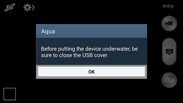 The Aqua mode will also remind you to close the USB cover.