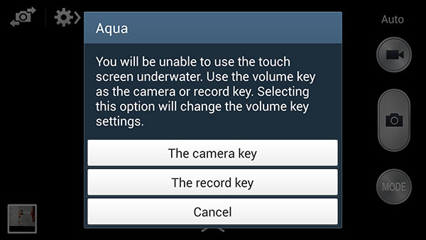 When underwater, it makes sense to use a physical button to trigger the shutter or start/stop video recording.