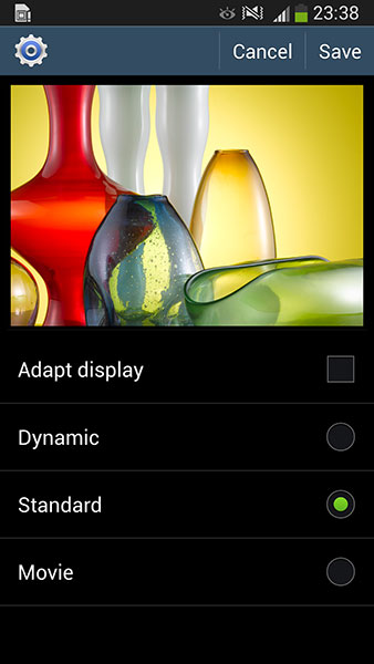 Adapt Display adjusts the colors and brightness of the screen automatically. On the S4 Active, there are three manual modes: Dynamic, Standard, and Movie. The Professional Photo mode that's present on the S4 is now gone.