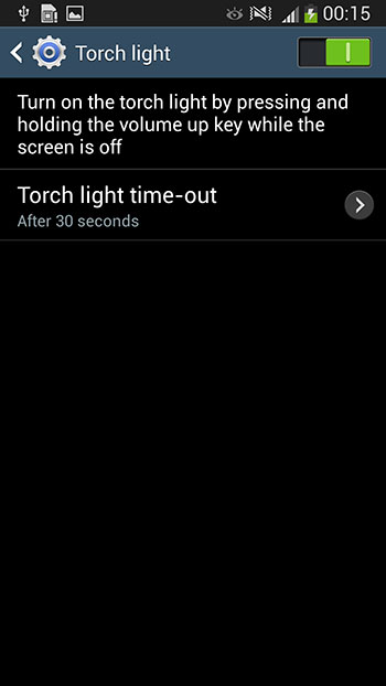 Under Settings > My Device, there's a new Torch Light toggle. Enabling it lets you turn on the rear camera LED when you press and hold the volume up key.