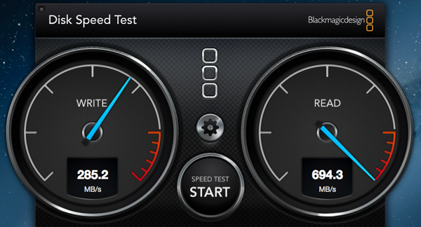 Running in its native OS X environment and using the Black Magic app, we got really outstanding read speeds.