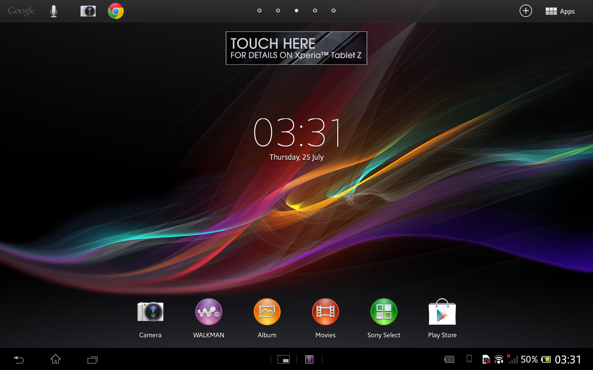The Tablet Z uses an almost vanilla version of Android 4.1.2 Jelly Bean with just a few improvements by Sony.