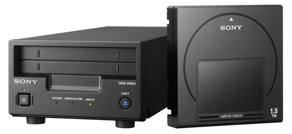 The Sony ODSD55U optical disc archive system has a 300GB starter cartridge that houses 12 optical discs. (Image source: Sony.)