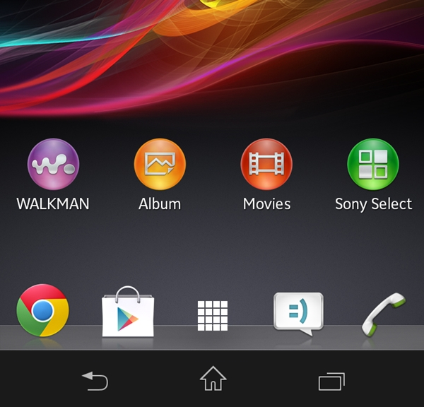 Sony's almost stock Android user interface on the Xperia SP.