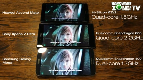 A screenshot taken from our video showing the three 6-inch devices playing a 1080p video. Notice the better contrast and more saturated colors on the Sony Xperia Z Ultra.