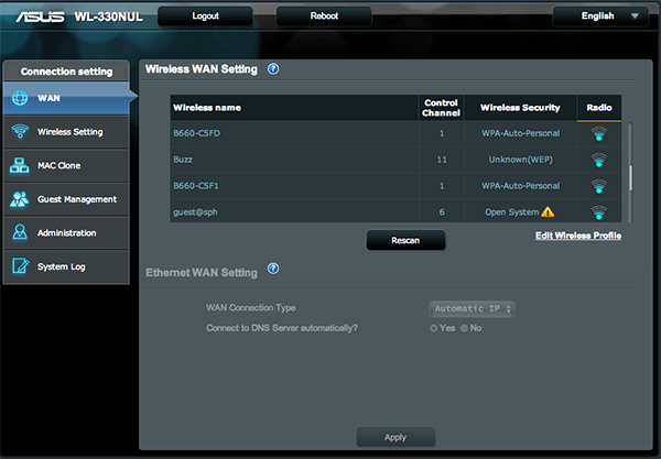 The setup screen is easy to navigate, making the WL-330NUL Pocket Router easy to setup.