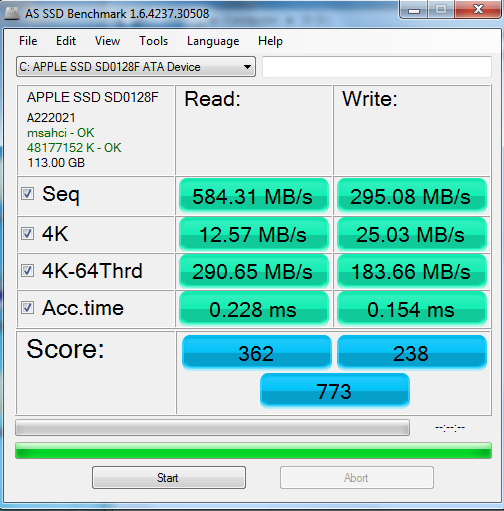The PCIe-based SSD produced respectable figures on AS SSD benchmark.