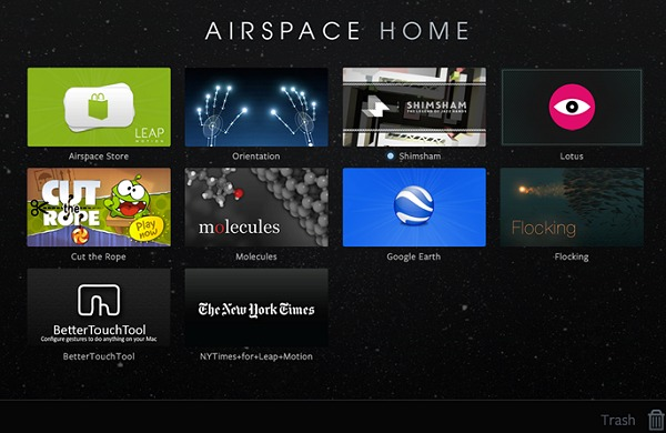 """Leap Motion's """"Airspace"""" software is required to kick-start using the controller."""